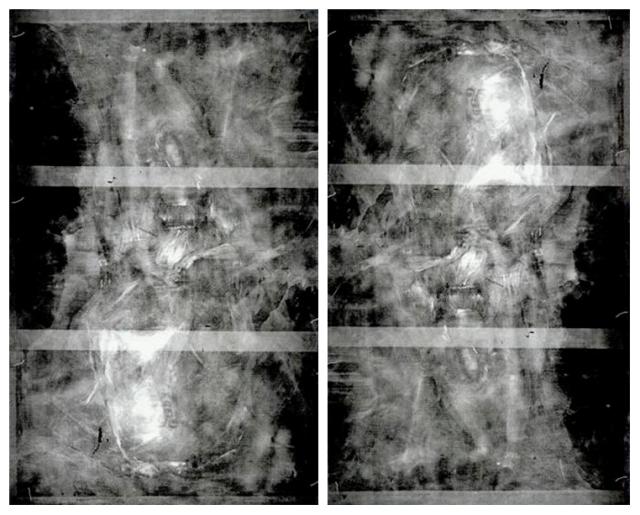 """Radiografía del cuadro """"María Teresa de Vallabriga y Rozas"""" de Francisco que muestra ambas pinturas subyacentes. Derecha: Lienzo en posición vertical. Izquierda: Lienzo invertido"""