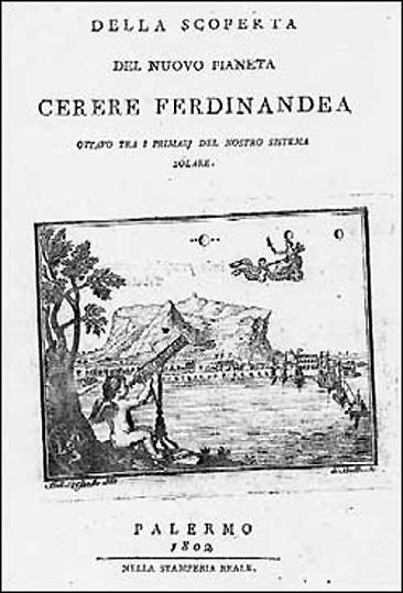 Libro de Piazzi en el que anuncia el descubrimiento.