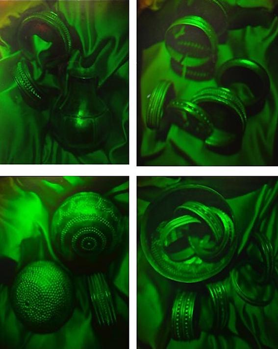 Hologramas del Tesoro de Villena (1983) realizados en la UA, por J. A. Quintana. Cortesía de Augusto Beléndez.