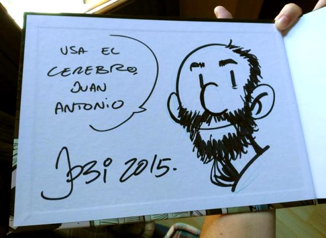 Dedicatoria de Jordi Bayarri a Juan Antonio en su cómic