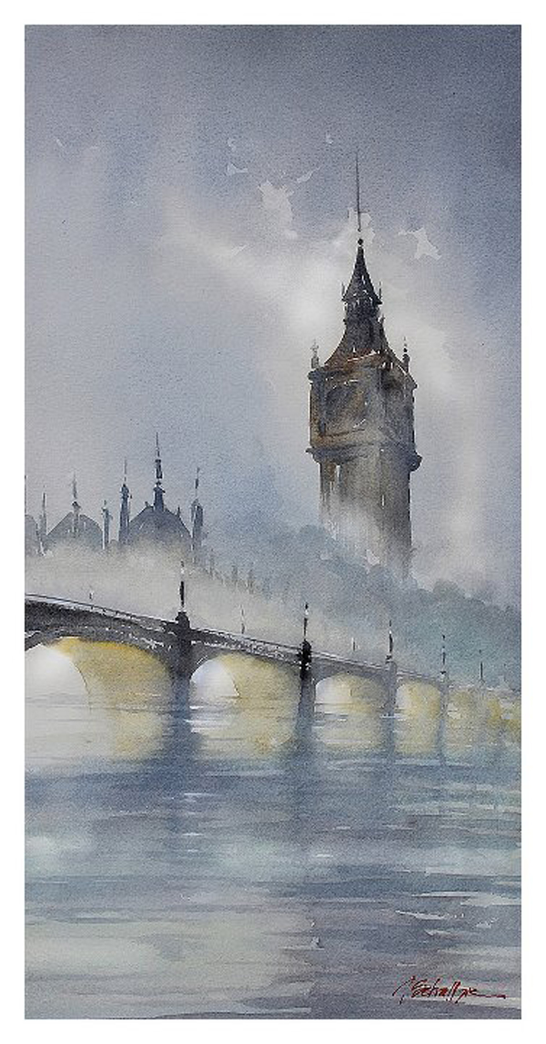 Thomas W Schaller «London Fog» Se ve el Big Ben entre la niebla
